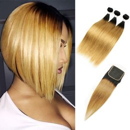 weave bundles three part closure Coupons - Malaysian Straight Hair 3 Bundles with Lace Closure T1B 27 Dark Root Honey Blonde Extensions Ombre Human Hair Weave Free Middle Three Part