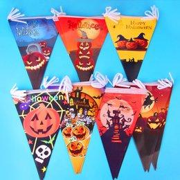 Wholesale Banner Sets - Halloween Party Bar KTV Setting Decoration Props Hangings Pumpkin Banner Skeleton Colorful Flags Halloween Paper Banner 10Pcs String
