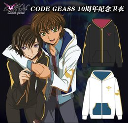 Wholesale Cosplay Geass - Wholesale- Anime Code Geass Lelouch Kururugi cosplay Hoodie Jacket Winter Top Coat in reserve stock free shipping 2016 New Animation