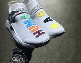 Wholesale Colorful Womens Shoes - NMD Pharrell Williams Human Race 'Birthday' mens Colorful Boost womens NMD Runner Running Shoes White Sample Ultra Boots with Box and Lacem