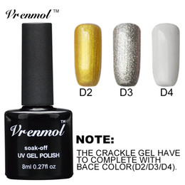 Wholesale Crackle Polish - Wholesale- Vrenmol 1pcs Long Lasting Pure Color Gold Silver White Base Coat for Crackle Gel Nail Polish Collection Color Gel Vernis