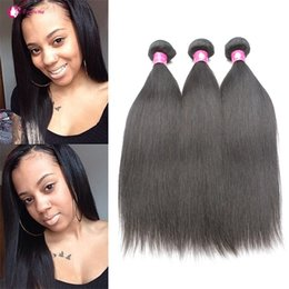 "Wholesale Straight Human Hair 3pcs - Unprocessed Brazilian Virgin Human Hair Bundles Peruvian Straight Hair Weaves 3pcs lot 8""-30"" 1B Soft Malaysian Remy Weaving Hair Extension"