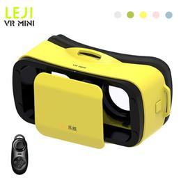 Wholesale Head Games Movie - Wholesale- vr box LEJI VR Mini Headset Virtual Reality 3D Glasses Head Mount Google Cardboard Movies Games For 4.7'-6'phone+Remote Control