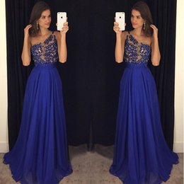 Wholesale Event Gowns Long - 2017 Royal Blue One Shoulder Chiffon Prom Dress With Sheer Lace Appliques Bodice Long Backless Evening Gowns for Special Occasion Events