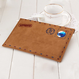 Wholesale Ipad New Retro - Wholesale- New Luxury Retro Vintage Brown envelope style leather case Leather sleeve Pouch Bag Cover for Ipad Mini 1 2 3