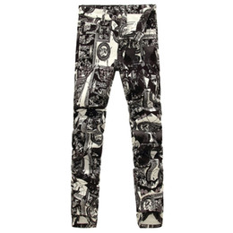Wholesale Photos Paintings Free - Men's fashion photo frame print jeans Male European and American painted denim pants Trousers Free shipping