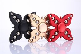 Wholesale Fantasy Butterflies - Creative Butterfly Metal Aluminum Flower Fidget Spinner Hand Gyro Fingertips Tri Spinner Toys with Retail Package DHL Free