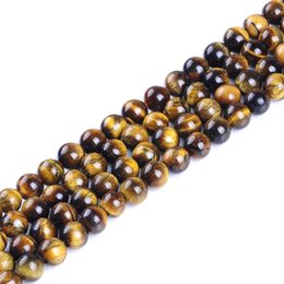 Wholesale Loose Stones For Jewelry - New fashion 4mm 6mm 8mm 10mm 12mm Tiger Eye Round Natural Stone Loose Beads For Jewelry Making Diy Bracelet Strand 15""