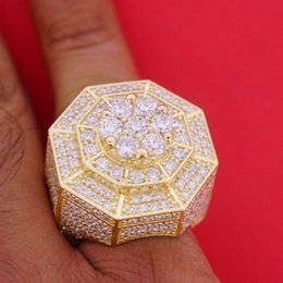 Wholesale Cluster Solitaire Rings - Mens New Style Huge Cluster Pinky Ring 10 Diamonds Iced Out All Over Deal