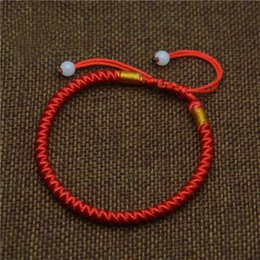 Wholesale Chinese Red Bracelet - Mdiger Classic Red String Rope Bracelet Lucky Red Chinese Braided Beads Bracelets Gift Fashion Black Waistband Bracelets Men