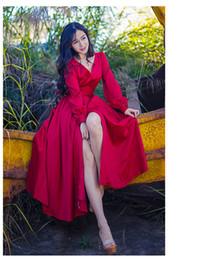 Nouveau style rétro rétro tempérament élégant rouge à manches longues col en V ouvert grands pendentifs jupe longue robes livraison gratuite ? partir de fabricateur