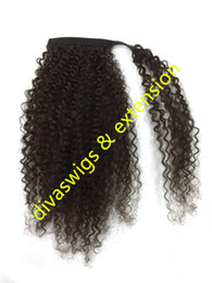 Wholesale Natural Hair Tail - Brazilian human hair drawstring ponytail kinky curly pony tail hair piece,clip in real hair wrap around fake ponytail hairpiece 120g