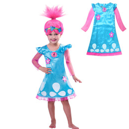 Wholesale Straight Knee Length Dresses - Trolls Dress Christmas Costumes For Girls Party Kids Dresses For Girls Net Yarn Sleeve For Teenagers Children Clothing 12 Years