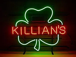 Wholesale Shamrock Light Sign - George Killian's Irish Red Shamrock Real Glass Neon Light Sign Home Beer Bar Pub Recreation Room Game Room Windows Sign 18''x14''