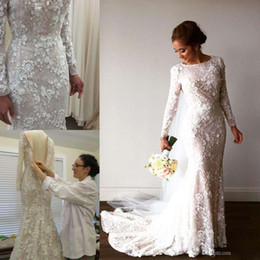 Wholesale 3d Arabic - 2017 Vintage Mermaid Arabic Wedding Dresses Long Sleeve 3D-Floral Appliques Crystal Muslim Bridal Gowns Sweep Train Real Image Brides Dress