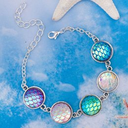 "Wholesale Colour Fish - DoreenBeads Handmade Resin Mermaid Fish  Dragon Scale Bracelets Antique Silver&Silver Plated AB Colour Round 17cm(6 6 8"") long"