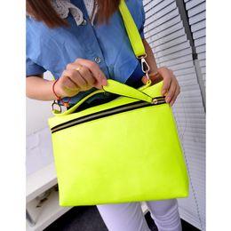 Wholesale Handbag Neon - Wholesale-Neon Bright Color PU Leather Handbags For Women Messenger Shoulder Bags Bolsa Feminina