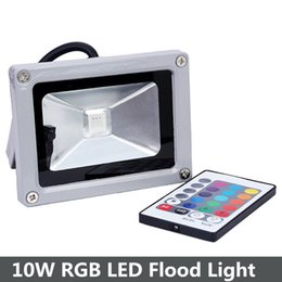 Wholesale Outdoor Rgb Controller - Wholesale- 10W RGB LED Flood Light IP65 Waterproof Floodlight Outdoor Lamp AC85-265V with IR Remote Controller refletor led foco exterior