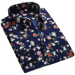 Wholesale Mens Gold Dress Shirts - Wholesale- 2017 Spring Floral Print Men Shirts Long Sleeve Mens Casual Shirt Slim Men Flower Printing Dress Shirts camisa masculina