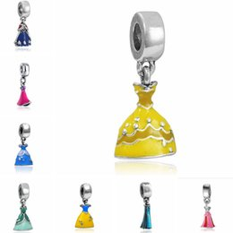 Wholesale Christmas Dresses Low Price - Wholesale 20pcs   lot Beautiful Enamel Princess Dress Design Silver Plated Dangle DIY Charms fit European Bracelet & Necklace Low Price