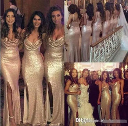 Wholesale Silk Wedding Dresses Cheap - Sparkly Rose Gold Sequined Cheap 2016 Mermaid Side Split Bridesmaid Dresses Spaghetti Straps Sequins Backless Long Beach Wedding Party Gowns