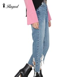 Wholesale Exclusive Jeans - Exclusive Ripped Jeans for Women Asymmetry Wide Leg Bule Mid Waist Boyfriend Woman Jeans Pants Sexy Korean X2 Feminino S M L