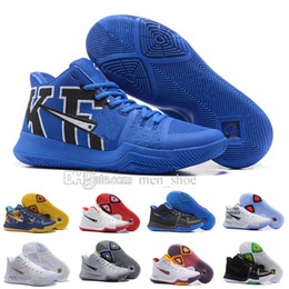 Wholesale Tie Dyeing Fabric - Newest Kyrie 3 Irving Glod Tie Dye Bhm Men Basketball Shoes Black Ice White Chrome Crossover Huarache Cavs Kyrie Irving 3s Sports Sneakers
