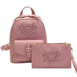 Wholesale Kitty Cell Phone - 2017 PU Leather Fashion Bag Cute Backpack Women Designer Bag Cat Cotton School Bags For Teenagers Backpacks Girls Hello Kitty