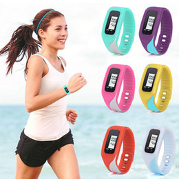 Wholesale Lcd Run Step Pedometer - Wholesale- Luxury Fashion Digital LCD Pedometer Run Step Walking Distance Calorie Counter Watch Bracelet Bracelet Women Wristwatches