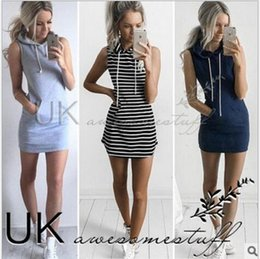 Wholesale One Lantern - New Women Casual Hooded Dresses 2016 Summer Sleeveless Lady's Street Style Short Dresses Outdoor Sports Striped One Piece Pencil Dress Black