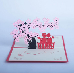 Wholesale Pops Cherry - 10pcs Cherry Tree Lover Handmade Kirigami Origami 3D Pop UP Greeting Cards Invitation card For Wedding Birthday Party Gift