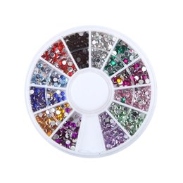 Wholesale Acrylic Nail Art Accessories - Wholesale- 12 Colors 3d Nail Decorations Steering-wheel Acrylic Diamond Shapes 2mm Rhinestones Nail Art Accessories