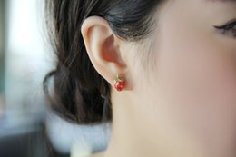 Wholesale Nail Magazines - Magazine recommended color glaze small strawberry tassel ear nail anti-allergic earrings small earrings