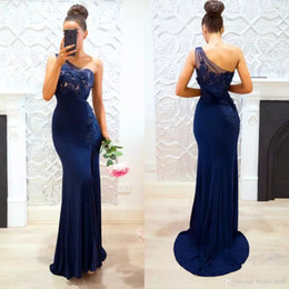 Wholesale Silk One Shoulder Long Dress - 2017 Navy Blue one shoulder Bridesmaid Dresses lace appliques mermaid maid of honor dress sexy side slit prom dresses