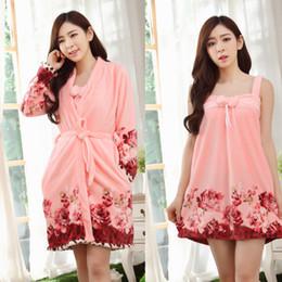Wholesale Set Bathrobe Women - Wholesale- 2016 New Winter Pajamas Flannel Nightgowns Spa Bathrobe With Dress Robe Women Long Sleeve Warm Soft Robe Sets