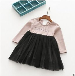 Wholesale Christmas Tree Tutu Dress - Girls dresses children pine tree printed letter embroidery dress fashion kids cotton long sleeve tulle splicing dress girls clothing G0410