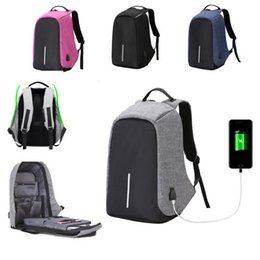 Wholesale Mens School - Anti-theft Mens Womens Laptop Notebook Backpack With USB Charging Port New creative oxford fabric zipper School travel shoulder bag
