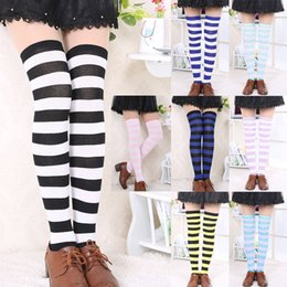 Wholesale Cheap Thigh Highs Stockings - Wholesale- Hot New Sexy Women Girl Striped Cotton Thigh High Stocking Over the Knee Socks Fashion Stockings For Dating Cosplay Cheap Z1