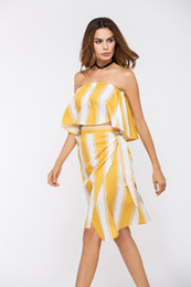 Wholesale Trendy Short Skirts - 2017 New Trendy Off Shoulder Butterfly Sleeve Short Blouse With Irregular Yellow Striped Skirt Set Casual Fashion Women Beach Dress Set