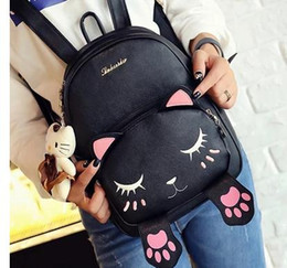 Escola divertida on-line-Atacado-Mochilas Escolares Estilo Mulheres Mochila Black Cat Fun Qualidade PU Leather Moda Feminina Sweet Shoulder Bag Travel Livros Mochila