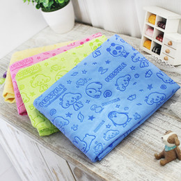 Wholesale Dogs Hair Dryer - Wholesale- Cartoon dog pet cat Absorbent microfiber Bath towel bathrobe Quick dry Suede material dog hair dry towel for dogs