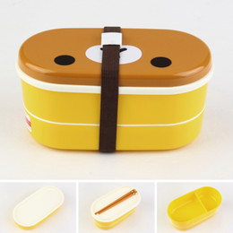 Wholesale Double Layer Chopsticks - Wholesale- Lovely High Heat Resistance Double Layers Chopsticks Plastic outdoor Bento Lunch Box