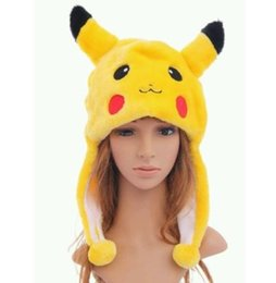 Wholesale Top Novelty Gifts - Anime Pikachu Fancy Costume Warmer Hat Beanie Unisex adult kids Fluffy Plush Warm cartoon Cap Scarf Cosplay performance props XMAS gift