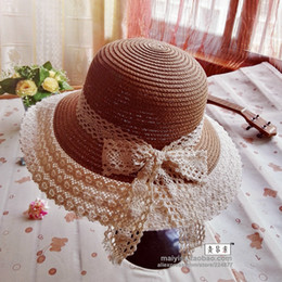 Wholesale Sexy Woman Hat Summer - Wholesale- Summer lace straw hat fashion Women Wide Large Brim Floppy bohemia Japan's sexy lace bow Sun Straw Hat Cap for adult
