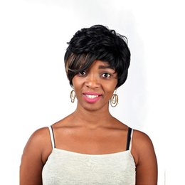 Wholesale Black Hairstyles Highlights - Natural highlights short black wig synthetic afro hair, puffy straight short wigs for black women, free shipping cheap hair wig