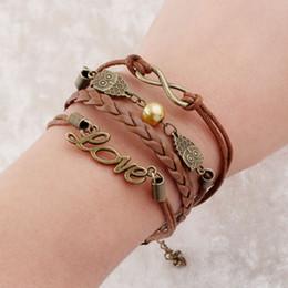 Wholesale Games Designers - Fashion Designer Promotion Hungry Game Love OWLS Charm Bracelet Wax Cord Leather Bracelets Bangles For Men
