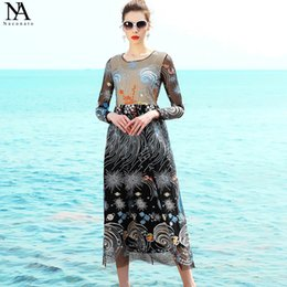 Wholesale Elegant Collections - New Collection 2017 Women's O Neck Long Sleeves Embroidery A Line High Street Elegant Runway Dresses