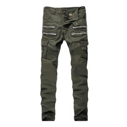 Wholesale Green Cargo Skinny Pants - Wholesale-2016 Mens Skinny Biker Jeans Multi Pockets Cargo Pant Army Green Mens Pleated Pencil Jeans P2086