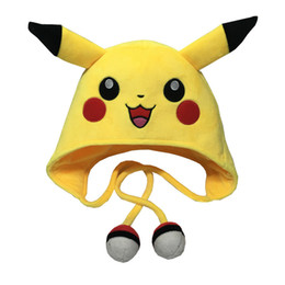 Wholesale Cap Teddy Bear - Cartoon Plush Toys Cute Animal Pikachu Hat Winter Children Cosplay Soft Warm Cap Long Earflap For Boys Girls