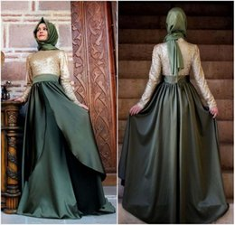 Wholesale Islamic Satin Caps - 2017 Vintage Long Sleeves High Neck Evening Formal Dresses Arabic Dubai Turkey Kaftan Muslim Islamic Dresses Floor Length